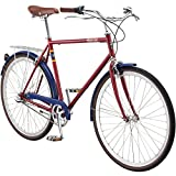 Pure City Classic Diamond Frame 3-Speed Bicycle, 58cm/Large, Meriwer Dark Red/Silver